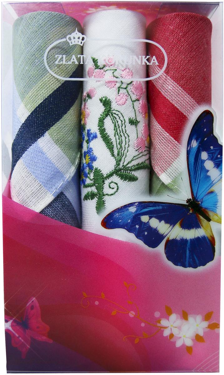 Платок носовой женский Zlata Korunka, цвет: мультиколор, 3 шт. 40423-125. Размер 28 х 28 см40423-125Платки носовые женские в упаковке по 3 шт. Носовые платки изготовлены из 100% хлопка, так как этот материал приятен в использовании, хорошо стирается, не садится, отлично впитывает влагу. Размер: 28 х 28..