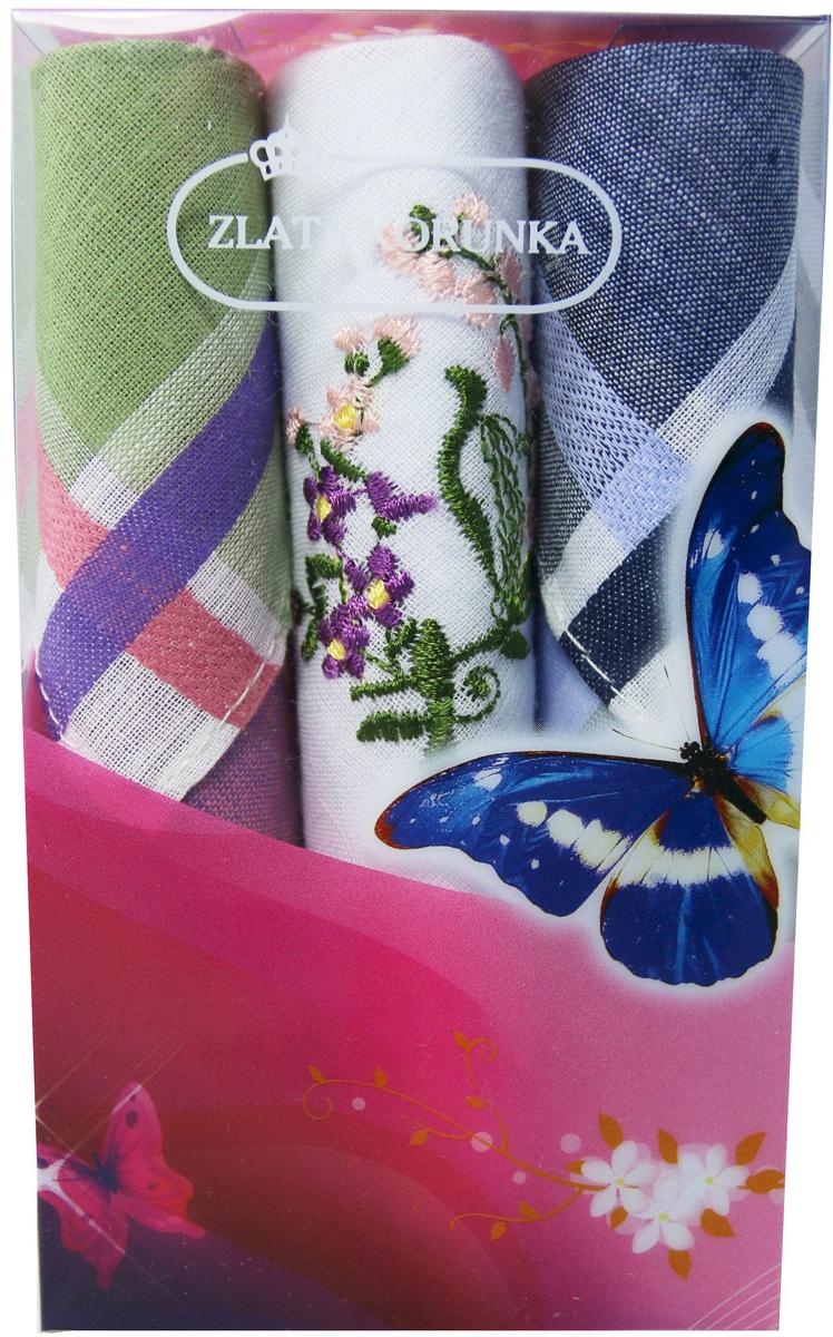 Платок носовой женский Zlata Korunka, цвет: зеленый, синий, белый, 3 шт. 40423-126. Размер 28 см х 28 см40423-126Небольшой женский носовой платок Zlata Korunka изготовлен из высококачественного натурального хлопка, благодаря чему приятен в использовании, хорошо стирается, не садится и отлично впитывает влагу. Практичный и изящный носовой платок будет незаменим в повседневной жизни любого современного человека. Такой платок послужит стильным аксессуаром и подчеркнет ваше превосходное чувство вкуса. В комплекте 3 платка.