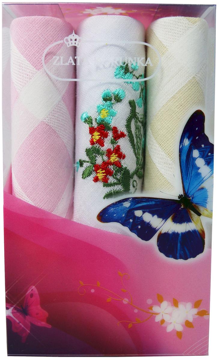 Платок носовой женский Zlata Korunka, цвет: мультиколор, 3 шт. 40423-130. Размер 28 х 28 см40423-130Платки носовые женские в упаковке по 3 шт. Носовые платки изготовлены из 100% хлопка, так как этот материал приятен в использовании, хорошо стирается, не садится, отлично впитывает влагу. Размер: 28 х 28..