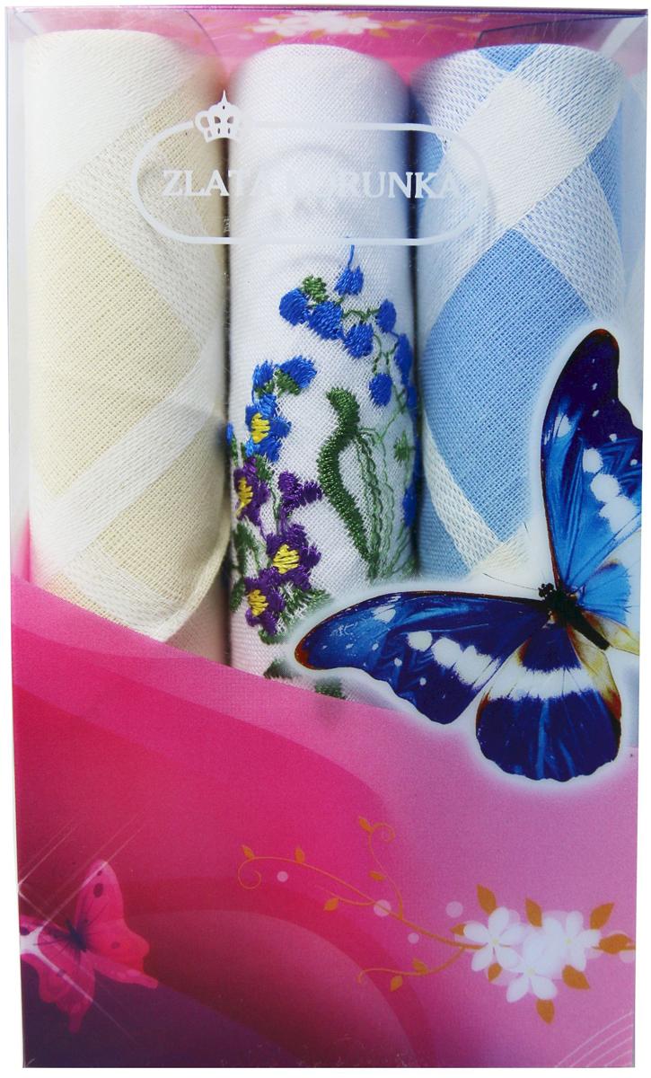 Платок носовой женский Zlata Korunka, цвет: мультиколор, 3 шт. 40423-131. Размер 28 х 28 см40423-131Платки носовые женские в упаковке по 3 шт. Носовые платки изготовлены из 100% хлопка, так как этот материал приятен в использовании, хорошо стирается, не садится, отлично впитывает влагу. Размер: 28 х 28..