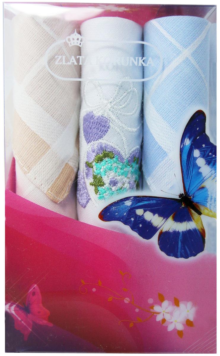 Платок носовой женский Zlata Korunka, цвет: мультиколор, 3 шт. 40423-15. Размер 28 х 28 см40423-15Платки носовые женские в упаковке по 3 шт. Носовые платки изготовлены из 100% хлопка, так как этот материал приятен в использовании, хорошо стирается, не садится, отлично впитывает влагу. Размер: 28 х 28..