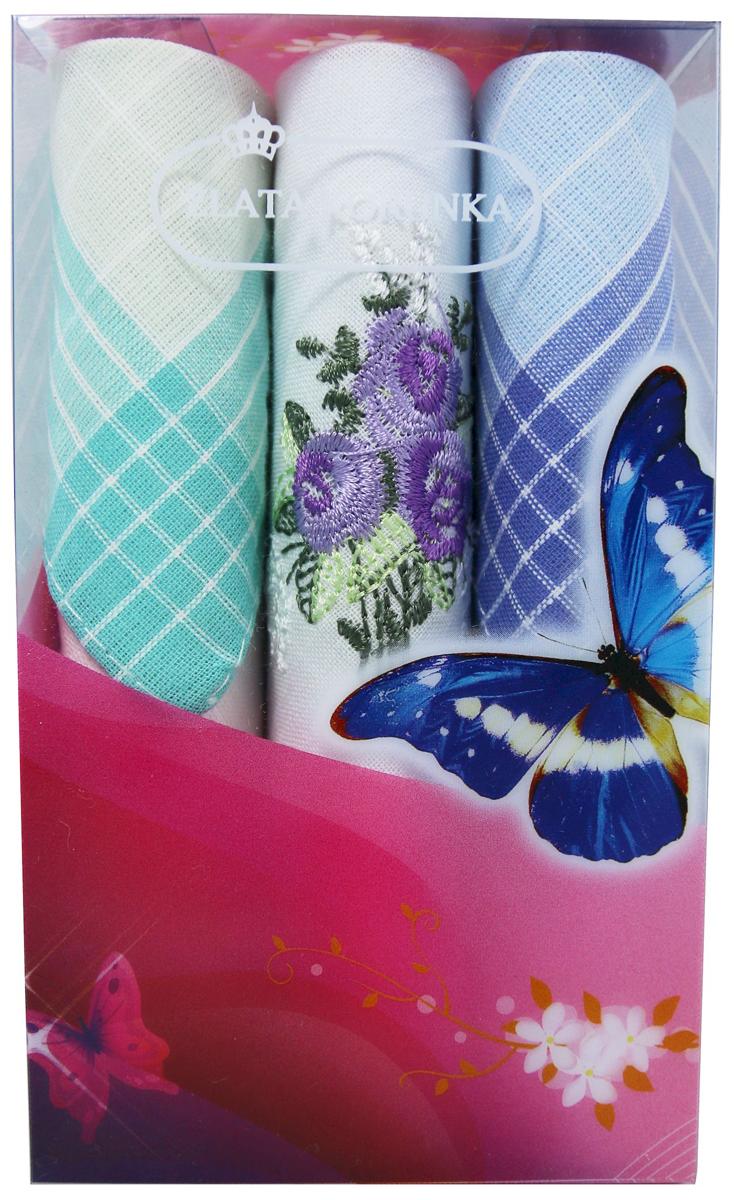 Платок носовой женский Zlata Korunka, цвет: мультиколор, 3 шт. 40423-16. Размер 28 х 28 см40423-16Платки носовые женские в упаковке по 3 шт. Носовые платки изготовлены из 100% хлопка, так как этот материал приятен в использовании, хорошо стирается, не садится, отлично впитывает влагу. Размер: 28 х 28..