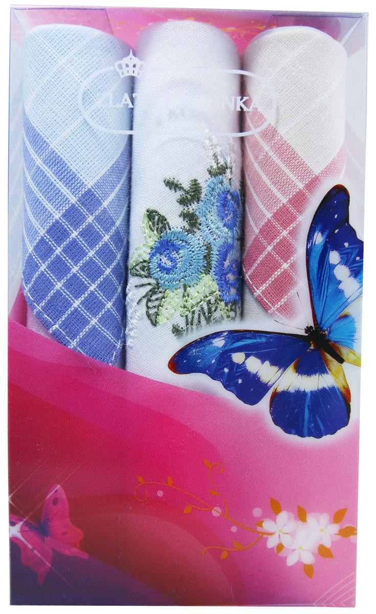 Платок носовой женский Zlata Korunka, цвет: мультиколор, 3 шт. 40423-17. Размер 28 х 28 см40423-17Платки носовые женские в упаковке по 3 шт. Носовые платки изготовлены из 100% хлопка, так как этот материал приятен в использовании, хорошо стирается, не садится, отлично впитывает влагу. Размер: 28 х 28..