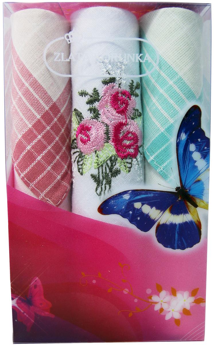 Платок носовой женский Zlata Korunka, цвет: мультиколор, 3 шт. 40423-18. Размер 28 х 28 см40423-18Платки носовые женские в упаковке по 3 шт. Носовые платки изготовлены из 100% хлопка, так как этот материал приятен в использовании, хорошо стирается, не садится, отлично впитывает влагу. Размер: 28 х 28..