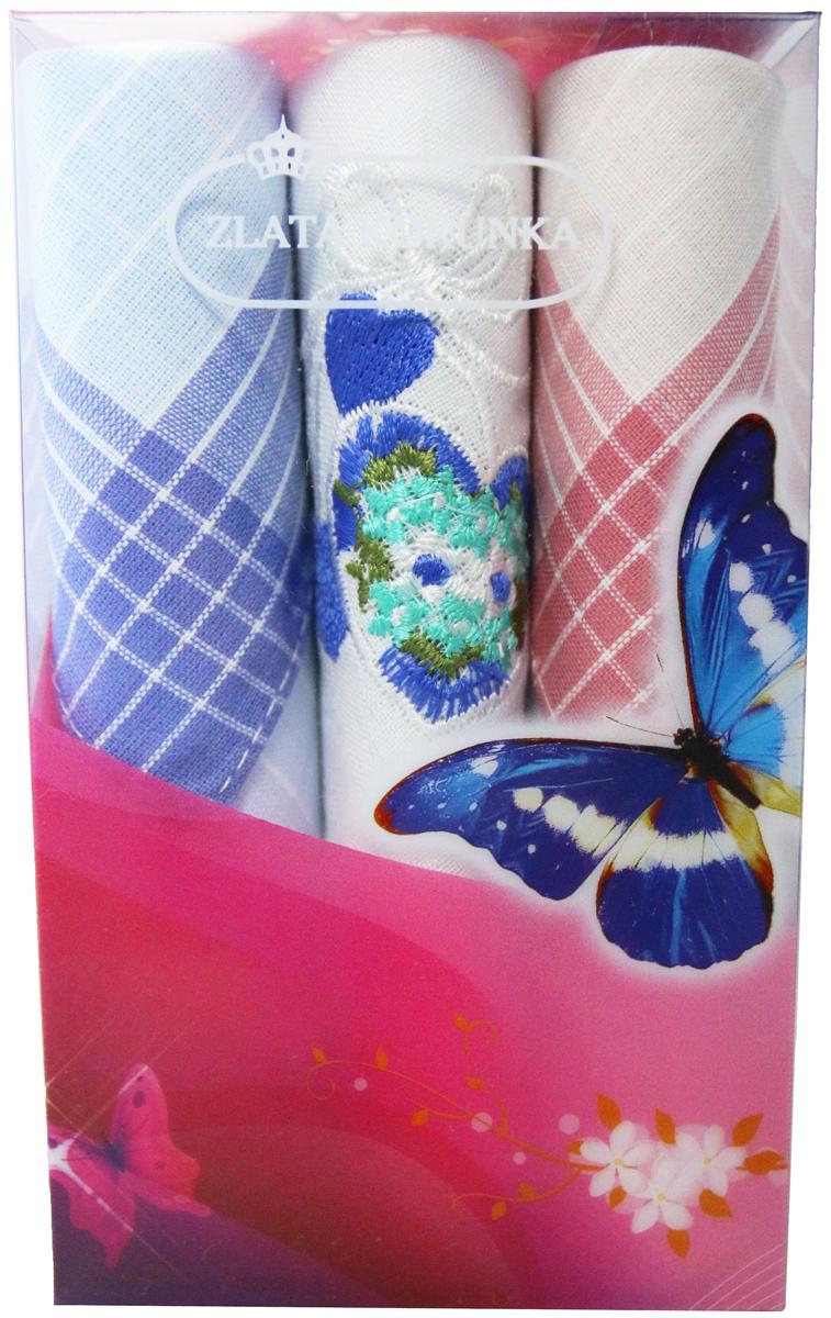 Платок носовой женский Zlata Korunka, цвет: мультиколор, 3 шт. 40423-19. Размер 28 х 28 см40423-19Платки носовые женские в упаковке по 3 шт. Носовые платки изготовлены из 100% хлопка, так как этот материал приятен в использовании, хорошо стирается, не садится, отлично впитывает влагу. Размер: 28 х 28..