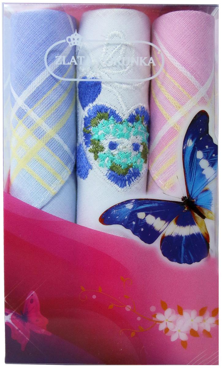 Платок носовой женский Zlata Korunka, цвет: мультиколор, 3 шт. 40423-2. Размер 28 х 28 см40423-2Платки носовые женские в упаковке по 3 шт. Носовые платки изготовлены из 100% хлопка, так как этот материал приятен в использовании, хорошо стирается, не садится, отлично впитывает влагу. Размер: 28 х 28..