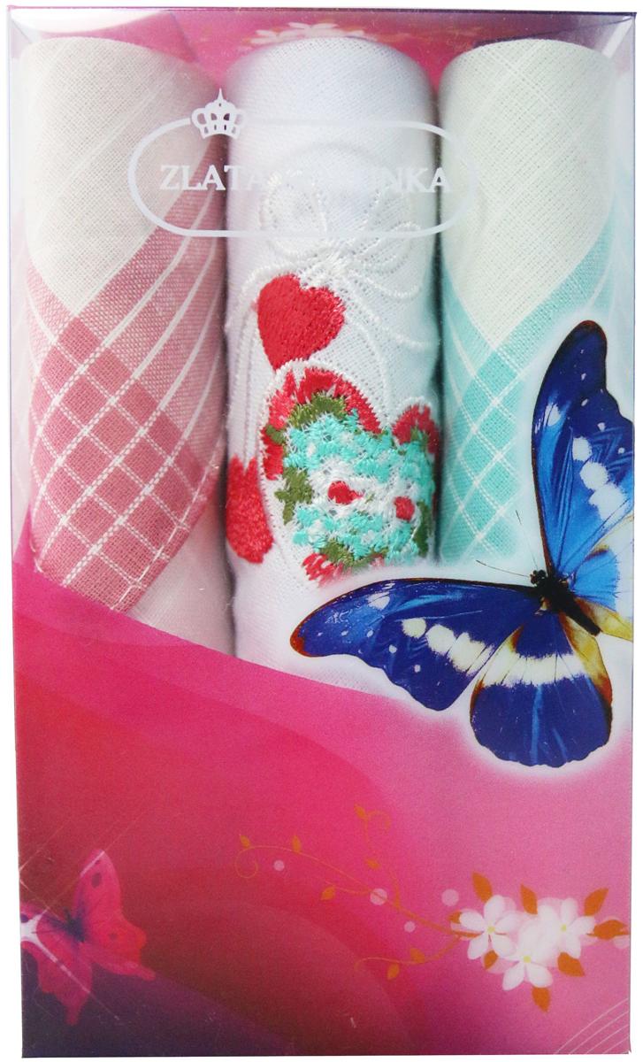 Платок носовой женский Zlata Korunka, цвет: мультиколор, 3 шт. 40423-20. Размер 28 х 28 см40423-20Платки носовые женские в упаковке по 3 шт. Носовые платки изготовлены из 100% хлопка, так как этот материал приятен в использовании, хорошо стирается, не садится, отлично впитывает влагу. Размер: 28 х 28..