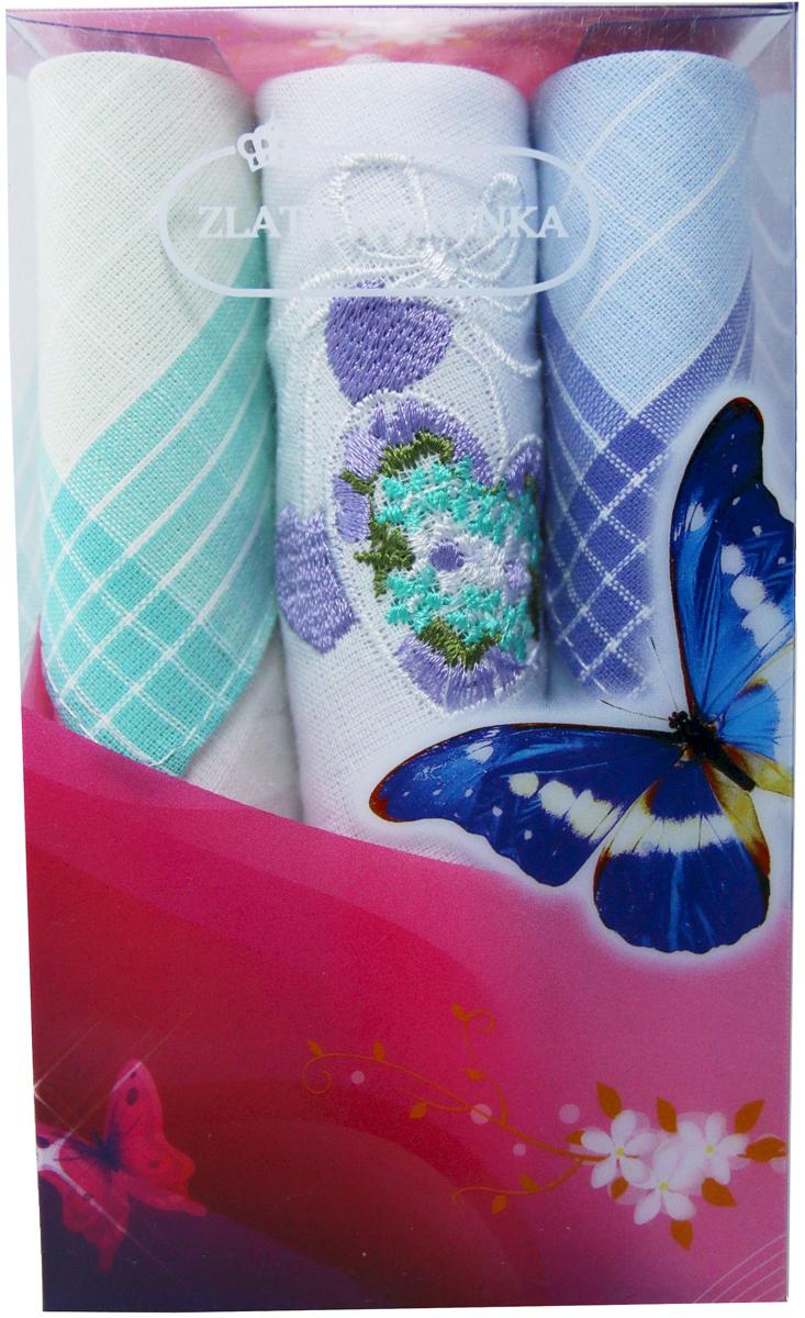 Платок носовой женский Zlata Korunka, цвет: мультиколор, 3 шт. 40423-21. Размер 28 х 28 см40423-21Платки носовые женские в упаковке по 3 шт. Носовые платки изготовлены из 100% хлопка, так как этот материал приятен в использовании, хорошо стирается, не садится, отлично впитывает влагу. Размер: 28 х 28..