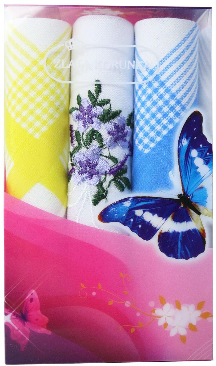 Платок носовой женский Zlata Korunka, цвет: мультиколор, 3 шт. 40423-22. Размер 28 х 28 см40423-22Платки носовые женские в упаковке по 3 шт. Носовые платки изготовлены из 100% хлопка, так как этот материал приятен в использовании, хорошо стирается, не садится, отлично впитывает влагу. Размер: 28 х 28..