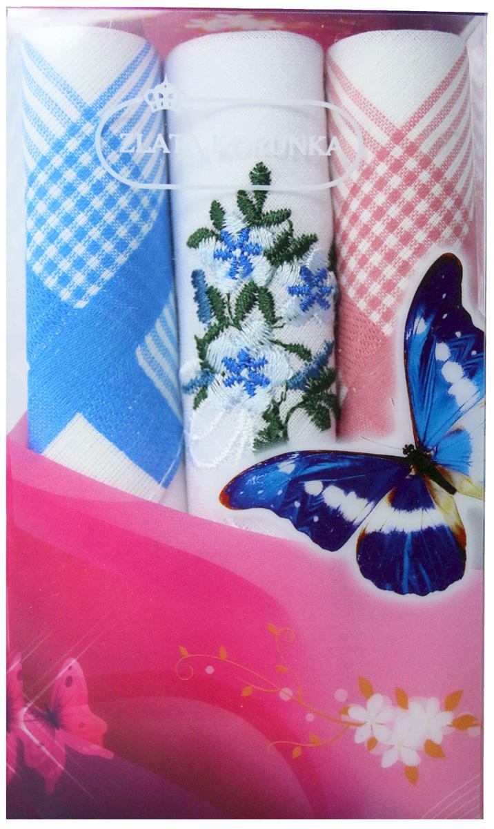 Платок носовой женский Zlata Korunka, цвет: мультиколор, 3 шт. 40423-23. Размер 28 х 28 см40423-23Платки носовые женские в упаковке по 3 шт. Носовые платки изготовлены из 100% хлопка, так как этот материал приятен в использовании, хорошо стирается, не садится, отлично впитывает влагу. Размер: 28 х 28..