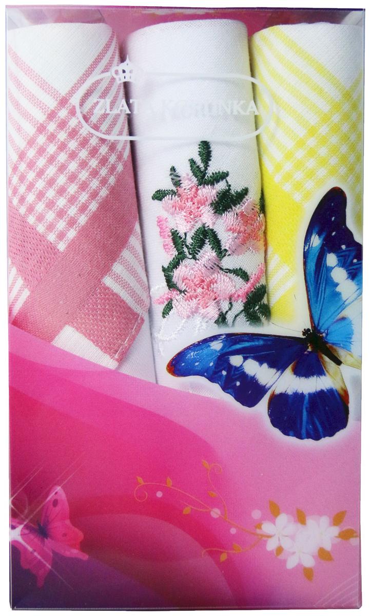 Платок носовой женский Zlata Korunka, цвет: мультиколор, 3 шт. 40423-24. Размер 28 х 28 см40423-24Платки носовые женские в упаковке по 3 шт. Носовые платки изготовлены из 100% хлопка, так как этот материал приятен в использовании, хорошо стирается, не садится, отлично впитывает влагу. Размер: 28 х 28..
