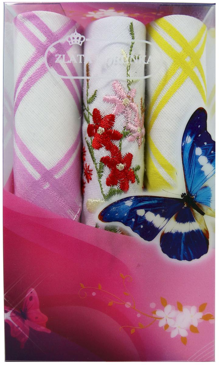 Платок носовой женский Zlata Korunka, цвет: мультиколор, 3 шт. 40423-25. Размер 28 х 28 см40423-25Платки носовые женские в упаковке по 3 шт. Носовые платки изготовлены из 100% хлопка, так как этот материал приятен в использовании, хорошо стирается, не садится, отлично впитывает влагу. Размер: 28 х 28..