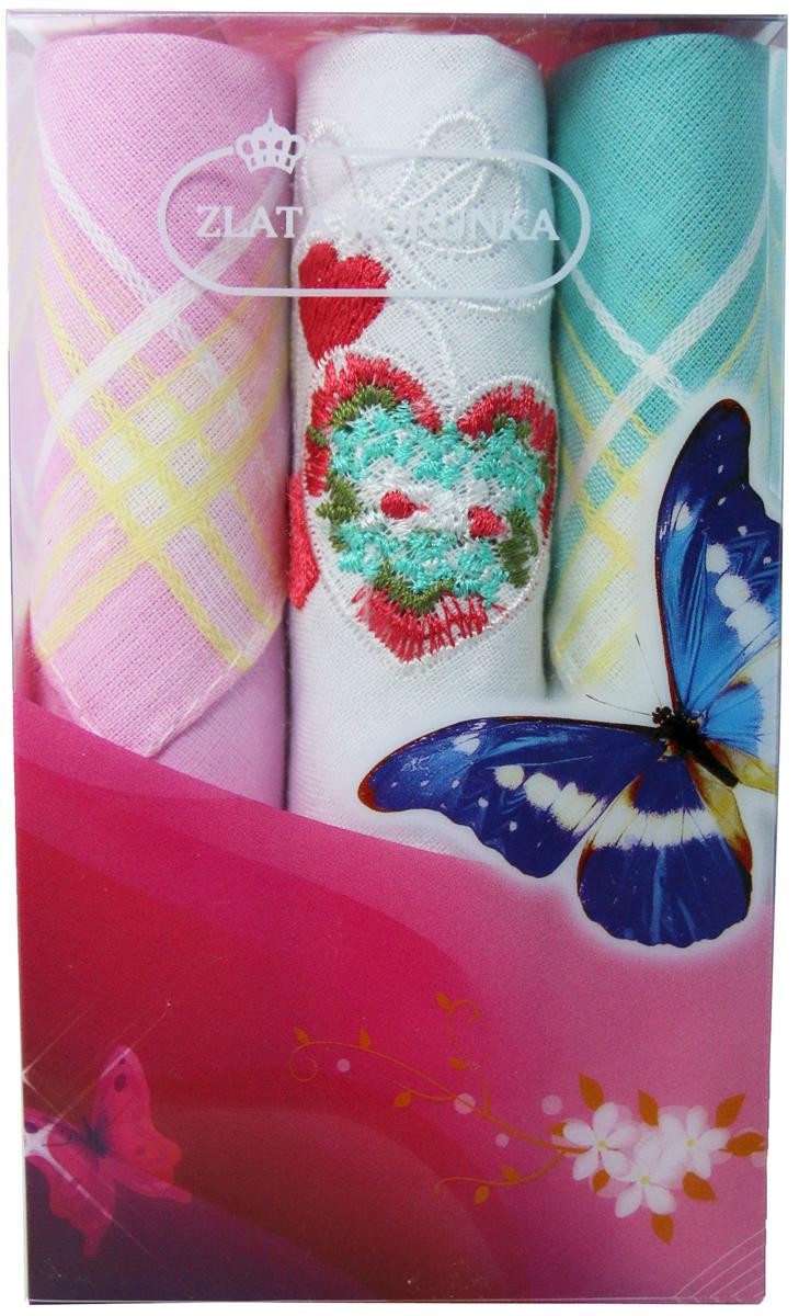 Платок носовой женский Zlata Korunka, цвет: мультиколор, 3 шт. 40423-3. Размер 28 х 28 см40423-3Платки носовые женские в упаковке по 3 шт. Носовые платки изготовлены из 100% хлопка, так как этот материал приятен в использовании, хорошо стирается, не садится, отлично впитывает влагу. Размер: 28 х 28..