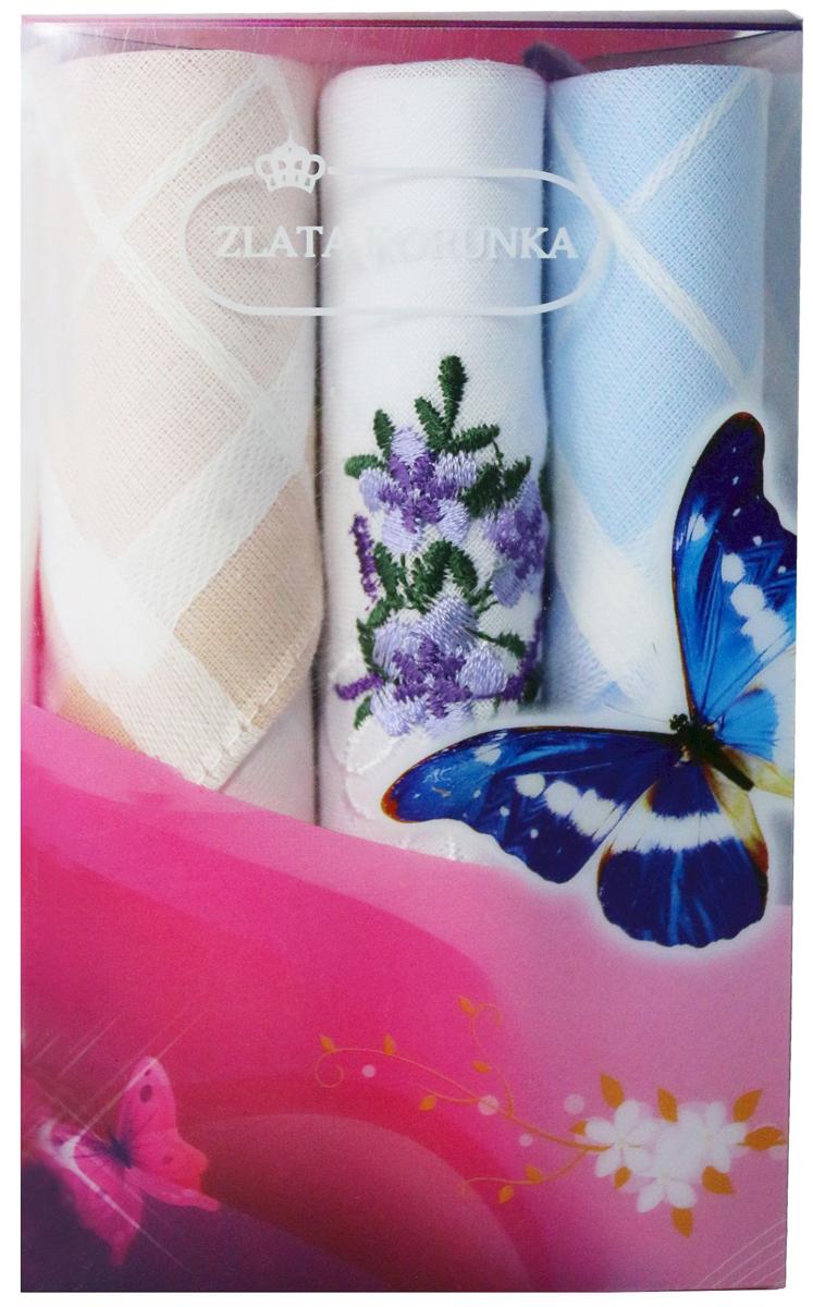 Платок носовой женский Zlata Korunka, цвет: мультиколор, 3 шт. 40423-31. Размер 28 х 28 см40423-31Платки носовые женские в упаковке по 3 шт. Носовые платки изготовлены из 100% хлопка, так как этот материал приятен в использовании, хорошо стирается, не садится, отлично впитывает влагу. Размер: 28 х 28..