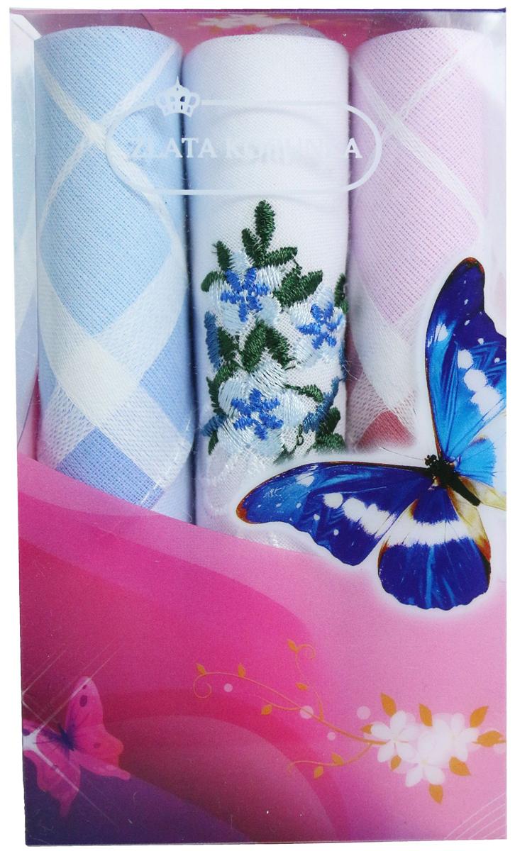 Платок носовой женский Zlata Korunka, цвет: мультиколор, 3 шт. 40423-32. Размер 28 х 28 см40423-32Платки носовые женские в упаковке по 3 шт. Носовые платки изготовлены из 100% хлопка, так как этот материал приятен в использовании, хорошо стирается, не садится, отлично впитывает влагу. Размер: 28 х 28..