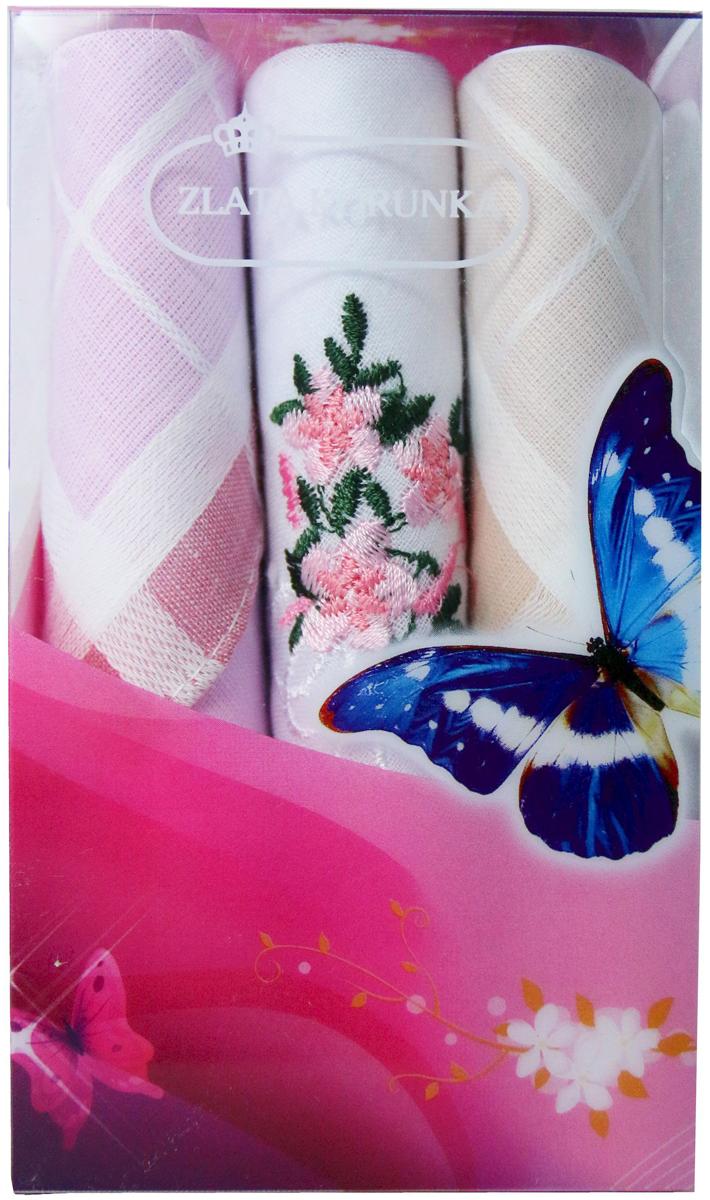Платок носовой женский Zlata Korunka, цвет: мультиколор, 3 шт. 40423-33. Размер 28 х 28 см40423-33Платки носовые женские в упаковке по 3 шт. Носовые платки изготовлены из 100% хлопка, так как этот материал приятен в использовании, хорошо стирается, не садится, отлично впитывает влагу. Размер: 28 х 28..