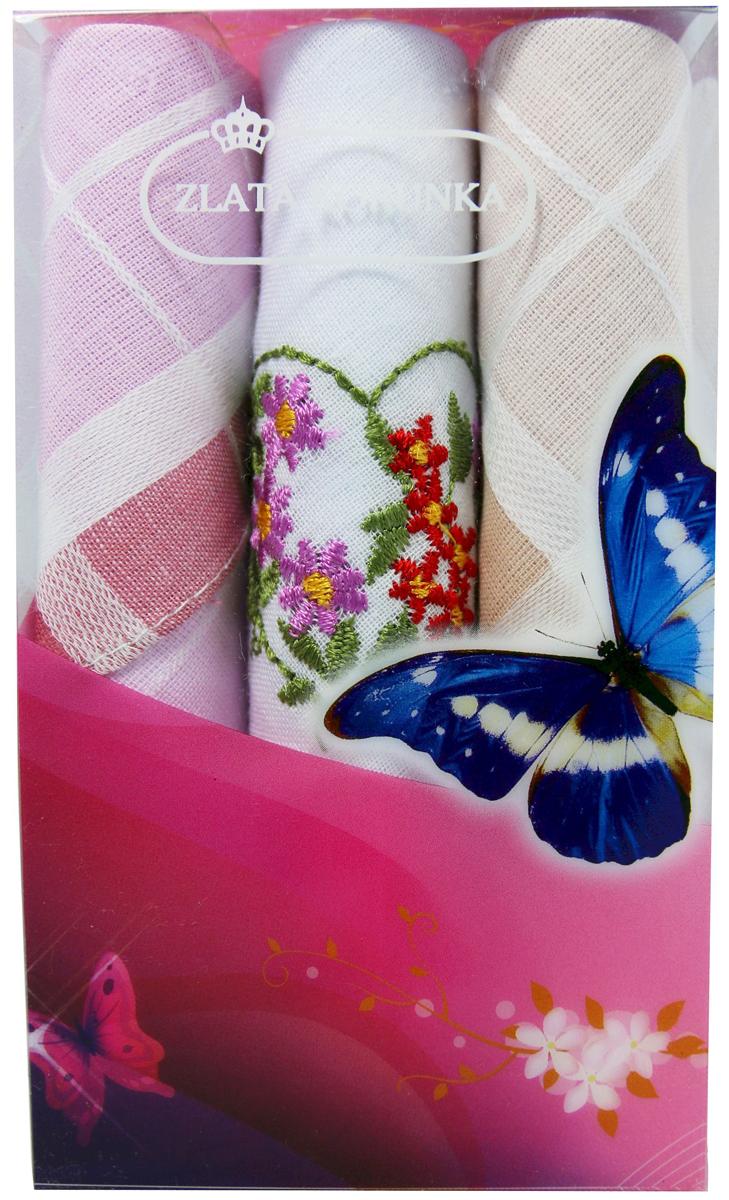 Платок носовой женский Zlata Korunka, цвет: мультиколор, 3 шт. 40423-34. Размер 28 х 28 см40423-34Платки носовые женские в упаковке по 3 шт. Носовые платки изготовлены из 100% хлопка, так как этот материал приятен в использовании, хорошо стирается, не садится, отлично впитывает влагу. Размер: 28 х 28..