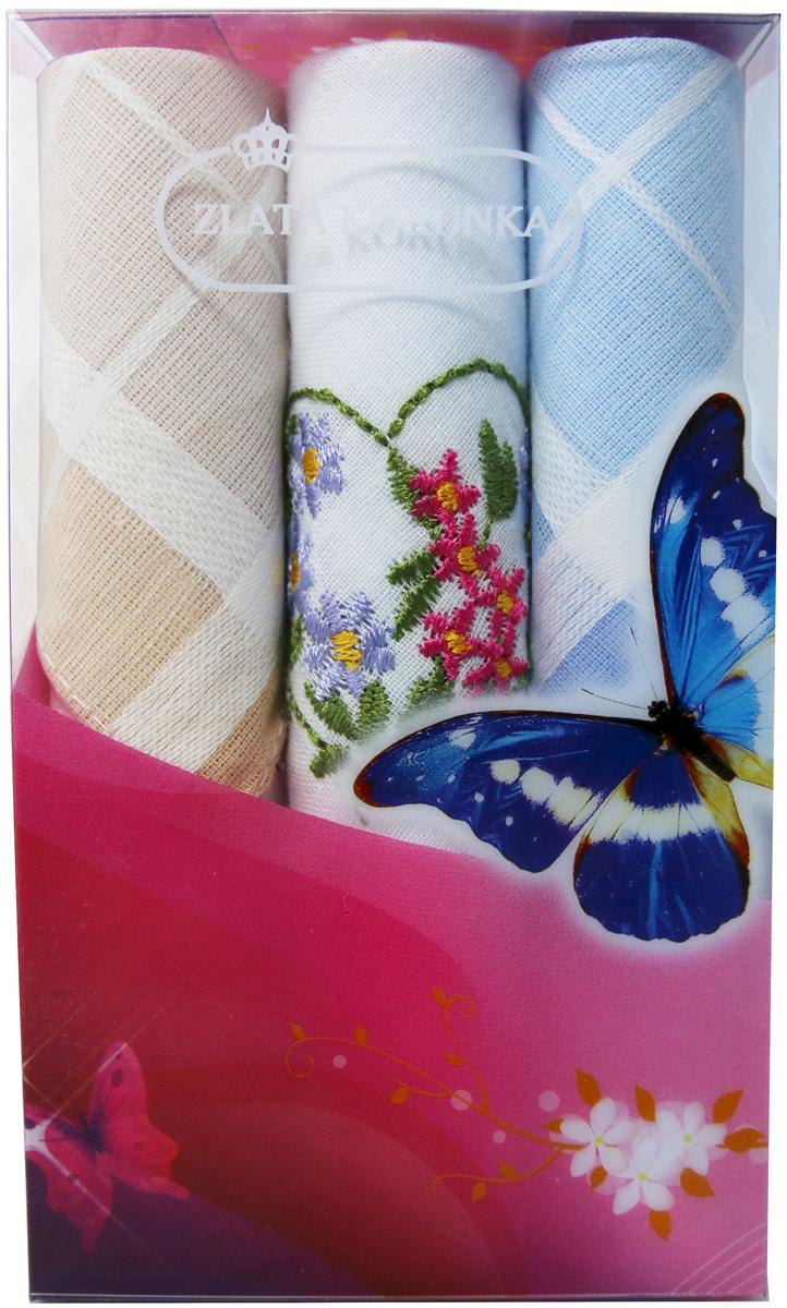 Платок носовой женский Zlata Korunka, цвет: мультиколор, 3 шт. 40423-36. Размер 28 х 28 см40423-36Платки носовые женские в упаковке по 3 шт. Носовые платки изготовлены из 100% хлопка, так как этот материал приятен в использовании, хорошо стирается, не садится, отлично впитывает влагу. Размер: 28 х 28..
