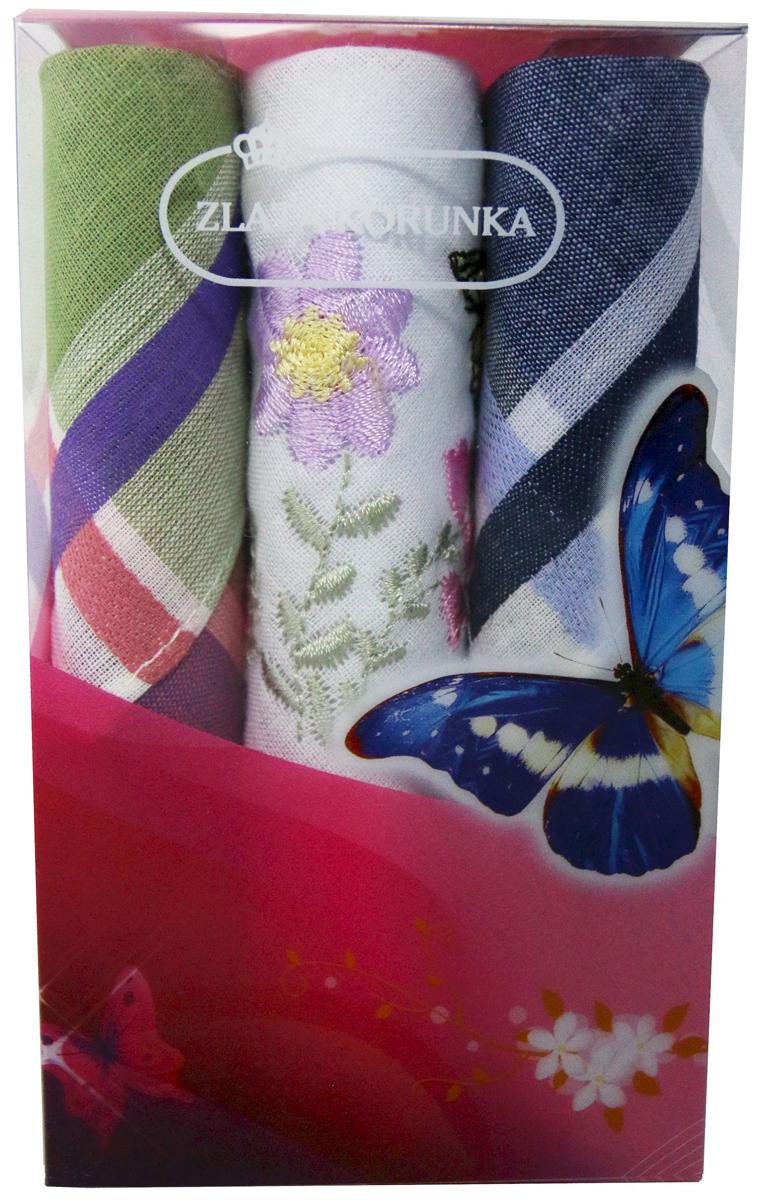 Платок носовой женский Zlata Korunka, цвет: мультиколор, 3 шт. 40423-38. Размер 28 х 28 см40423-38Платки носовые женские в упаковке по 3 шт. Носовые платки изготовлены из 100% хлопка, так как этот материал приятен в использовании, хорошо стирается, не садится, отлично впитывает влагу. Размер: 28 х 28..