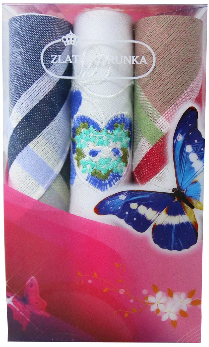 Платок носовой женский Zlata Korunka, цвет: мультиколор, 3 шт. 40423-4. Размер 28 х 28 см40423-4Платки носовые женские в упаковке по 3 шт. Носовые платки изготовлены из 100% хлопка, так как этот материал приятен в использовании, хорошо стирается, не садится, отлично впитывает влагу. Размер: 28 х 28..