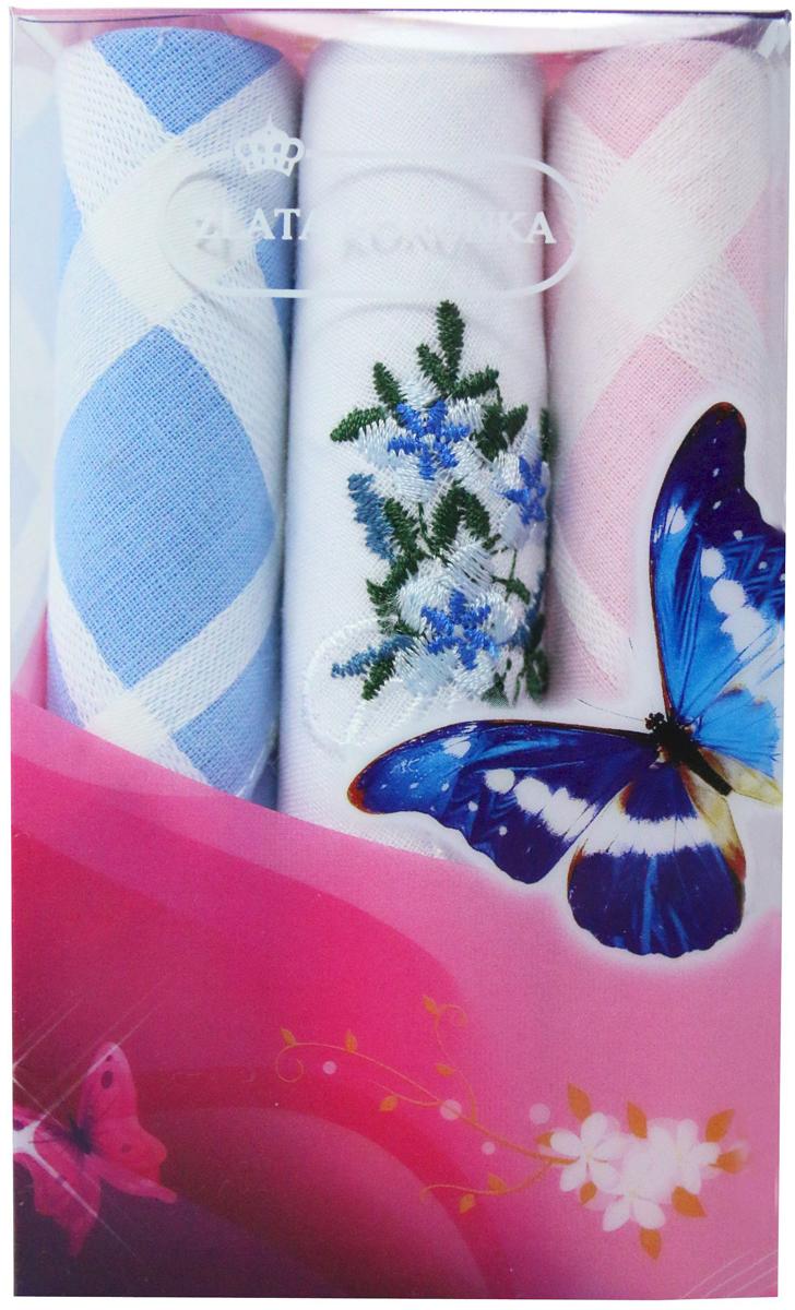 Платок носовой женский Zlata Korunka, цвет: мультиколор, 3 шт. 40423-42. Размер 28 х 28 см40423-42Платки носовые женские в упаковке по 3 шт. Носовые платки изготовлены из 100% хлопка, так как этот материал приятен в использовании, хорошо стирается, не садится, отлично впитывает влагу. Размер: 28 х 28..