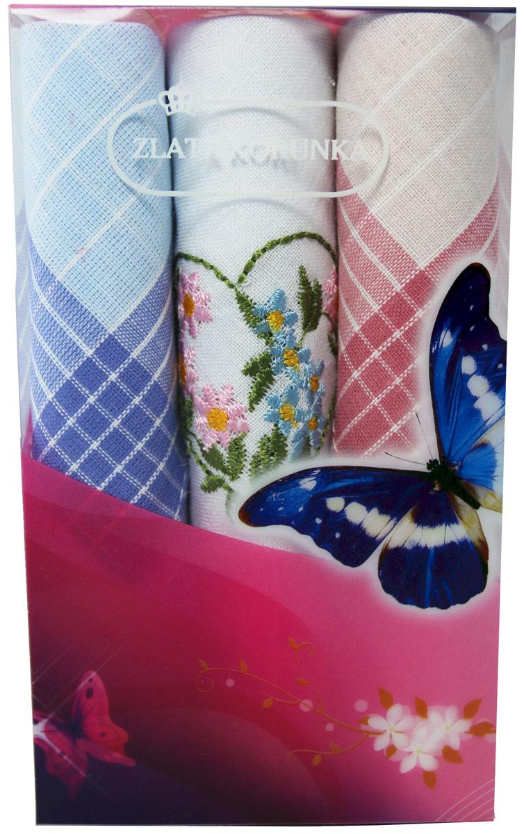 Платок носовой женский Zlata Korunka, цвет: мультиколор, 3 шт. 40423-45. Размер 28 х 28 см40423-45Платки носовые женские в упаковке по 3 шт. Носовые платки изготовлены из 100% хлопка, так как этот материал приятен в использовании, хорошо стирается, не садится, отлично впитывает влагу. Размер: 28 х 28..