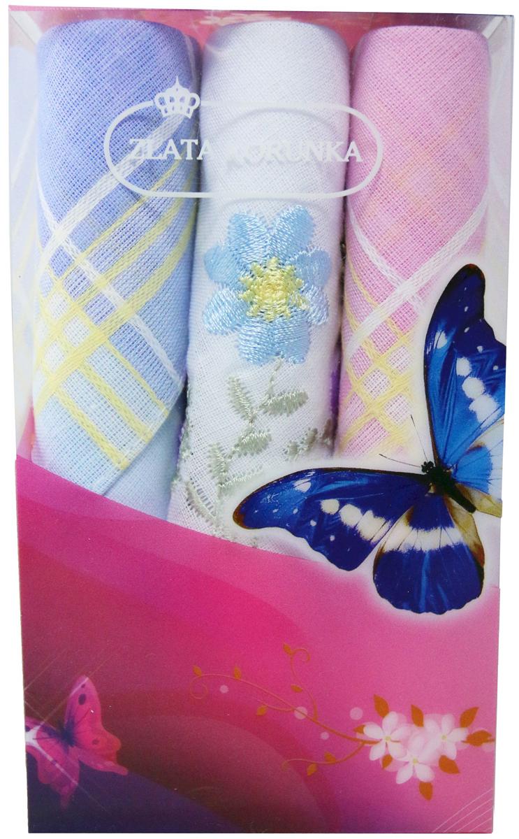Платок носовой женский Zlata Korunka, цвет: мультиколор, 3 шт. 40423-46. Размер 28 х 28 см40423-46Платки носовые женские в упаковке по 3 шт. Носовые платки изготовлены из 100% хлопка, так как этот материал приятен в использовании, хорошо стирается, не садится, отлично впитывает влагу. Размер: 28 х 28..