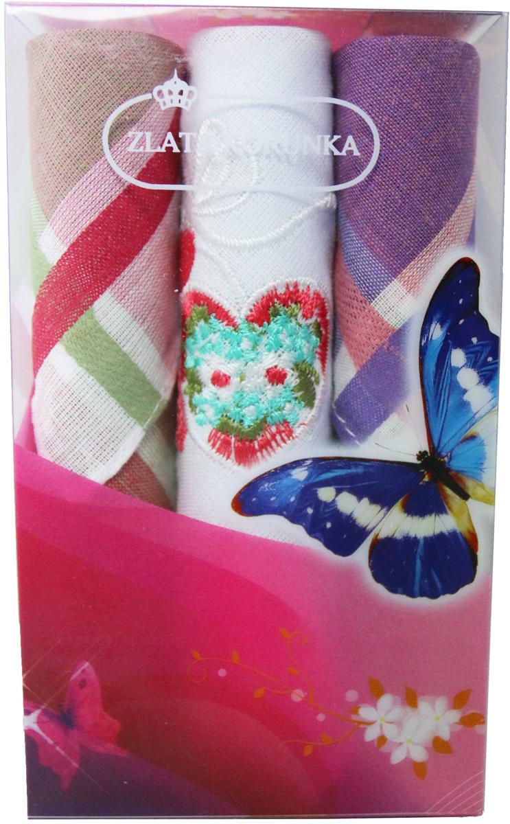 Платок носовой женский Zlata Korunka, цвет: мультиколор, 3 шт. 40423-5. Размер 28 х 28 см40423-5Платки носовые женские в упаковке по 3 шт. Носовые платки изготовлены из 100% хлопка, так как этот материал приятен в использовании, хорошо стирается, не садится, отлично впитывает влагу. Размер: 28 х 28..