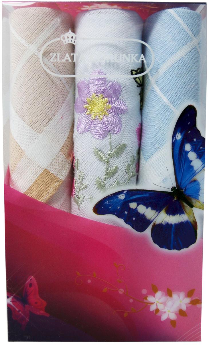 Платок носовой женский Zlata Korunka, цвет: мультиколор, 3 шт. 40423-51. Размер 28 х 28 см40423-51Платки носовые женские в упаковке по 3 шт. Носовые платки изготовлены из 100% хлопка, так как этот материал приятен в использовании, хорошо стирается, не садится, отлично впитывает влагу. Размер: 28 х 28..