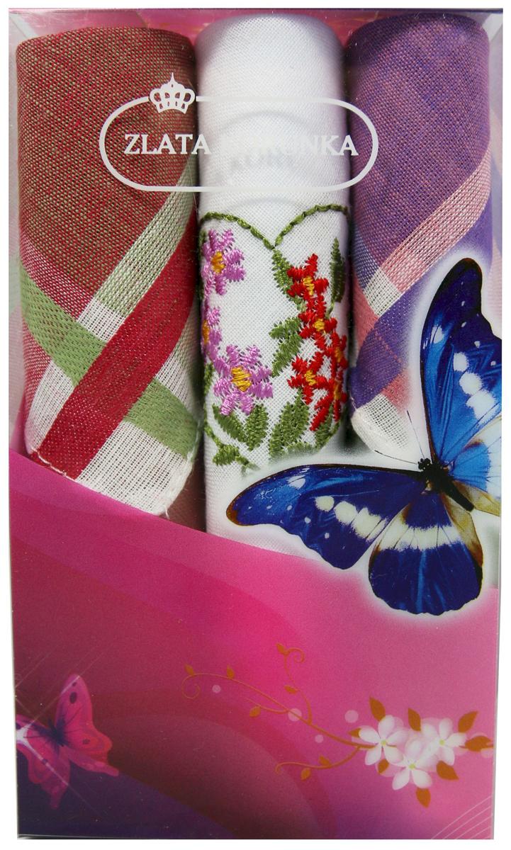 Платок носовой женский Zlata Korunka, цвет: мультиколор, 3 шт. 40423-55. Размер 28 х 28 см40423-55Платки носовые женские в упаковке по 3 шт. Носовые платки изготовлены из 100% хлопка, так как этот материал приятен в использовании, хорошо стирается, не садится, отлично впитывает влагу. Размер: 28 х 28..