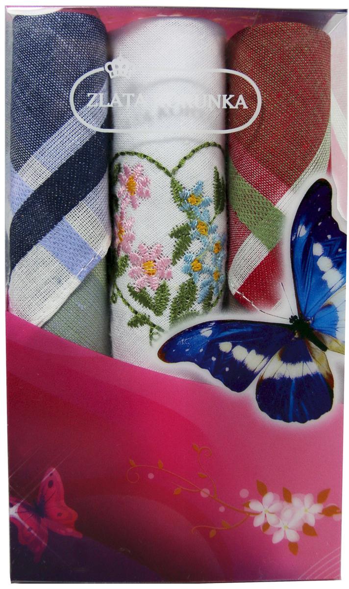 Платок носовой женский Zlata Korunka, цвет: мультиколор, 3 шт. 40423-56. Размер 28 х 28 см40423-56Платки носовые женские в упаковке по 3 шт. Носовые платки изготовлены из 100% хлопка, так как этот материал приятен в использовании, хорошо стирается, не садится, отлично впитывает влагу. Размер: 28 х 28..
