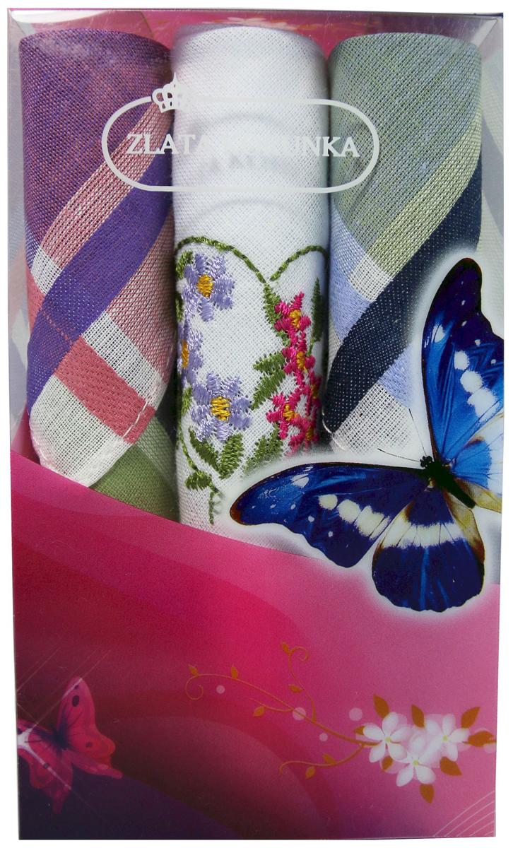 Платок носовой женский Zlata Korunka, цвет: мультиколор, 3 шт. 40423-57. Размер 28 х 28 см40423-57Платки носовые женские в упаковке по 3 шт. Носовые платки изготовлены из 100% хлопка, так как этот материал приятен в использовании, хорошо стирается, не садится, отлично впитывает влагу. Размер: 28 х 28..