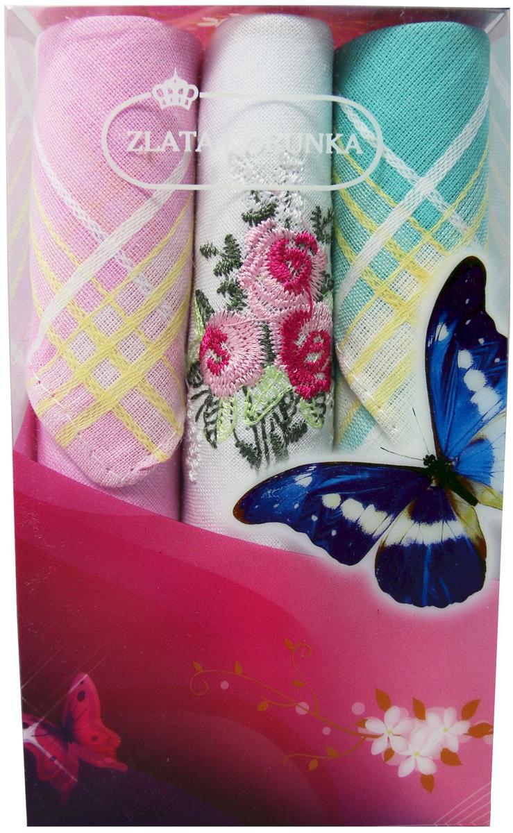 Платок носовой женский Zlata Korunka, цвет: мультиколор, 3 шт. 40423-58. Размер 28 х 28 см40423-58Платки носовые женские в упаковке по 3 шт. Носовые платки изготовлены из 100% хлопка, так как этот материал приятен в использовании, хорошо стирается, не садится, отлично впитывает влагу. Размер: 28 х 28..