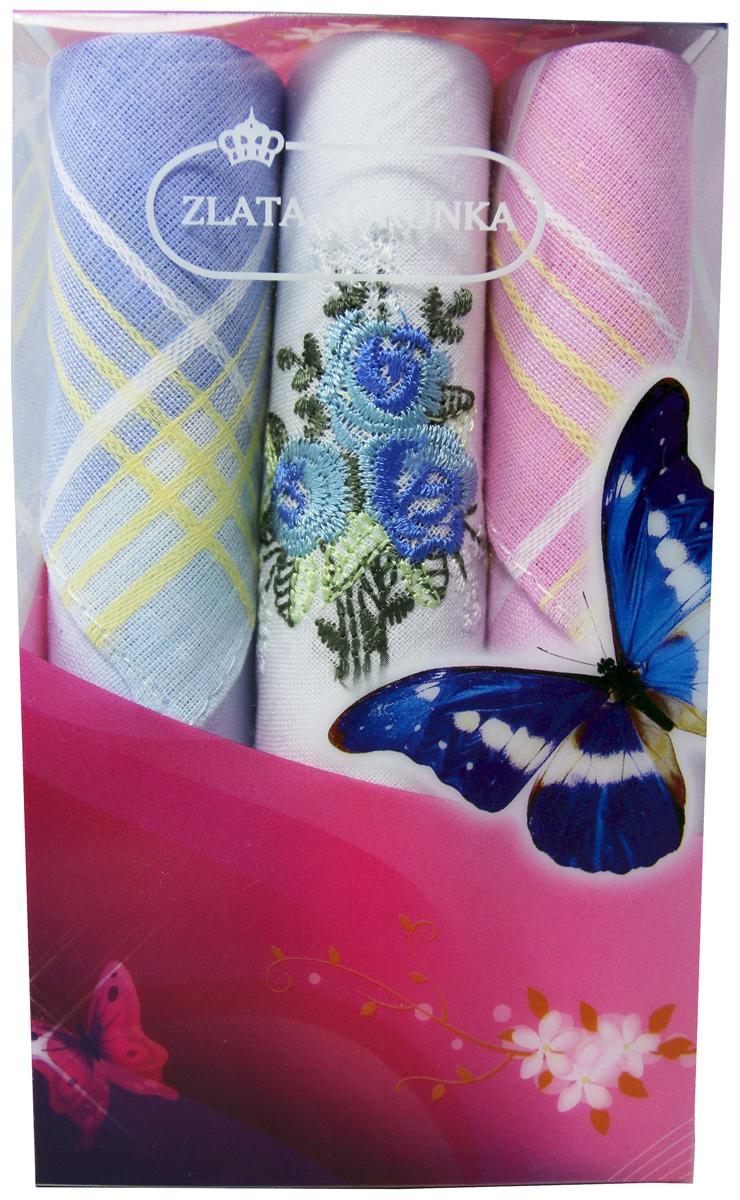 Платок носовой женский Zlata Korunka, цвет: мультиколор, 3 шт. 40423-59. Размер 28 х 28 см40423-59Платки носовые женские в упаковке по 3 шт. Носовые платки изготовлены из 100% хлопка, так как этот материал приятен в использовании, хорошо стирается, не садится, отлично впитывает влагу. Размер: 28 х 28..