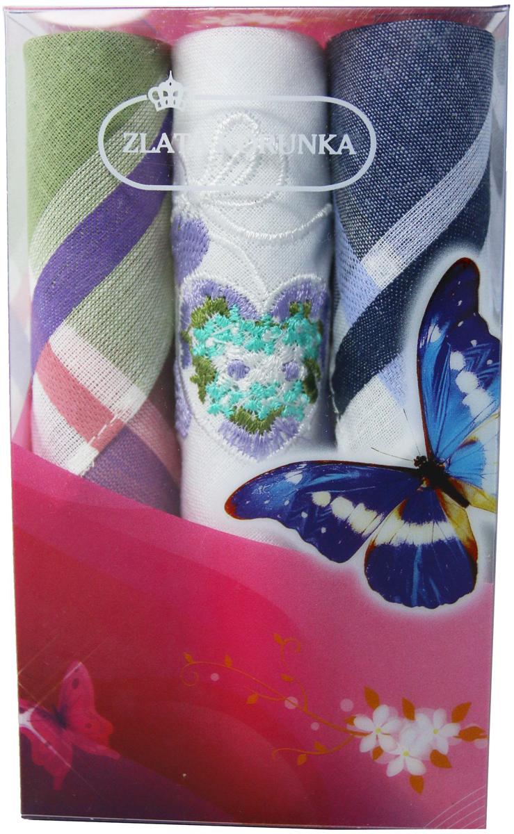 Платок носовой женский Zlata Korunka, цвет: мультиколор, 3 шт. 40423-6. Размер 28 х 28 см40423-6Платки носовые женские в упаковке по 3 шт. Носовые платки изготовлены из 100% хлопка, так как этот материал приятен в использовании, хорошо стирается, не садится, отлично впитывает влагу. Размер: 28 х 28..
