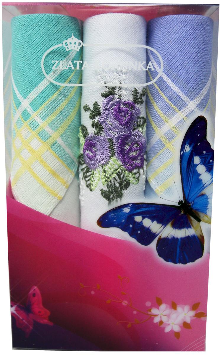 Платок носовой женский Zlata Korunka, цвет: мультиколор, 3 шт. 40423-60. Размер 28 х 28 см40423-60Платки носовые женские в упаковке по 3 шт. Носовые платки изготовлены из 100% хлопка, так как этот материал приятен в использовании, хорошо стирается, не садится, отлично впитывает влагу. Размер: 28 х 28..