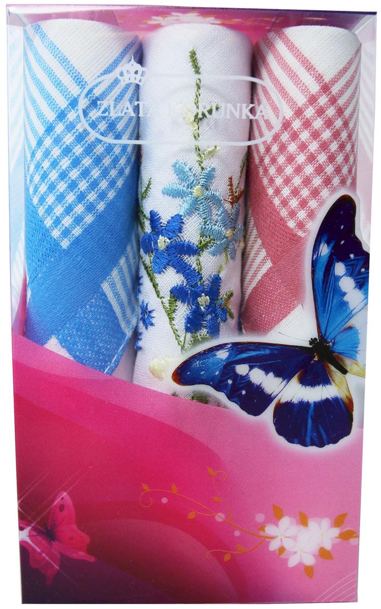 Платок носовой женский Zlata Korunka, цвет: мультиколор, 3 шт. 40423-61. Размер 28 х 28 см40423-61Платки носовые женские в упаковке по 3 шт. Носовые платки изготовлены из 100% хлопка, так как этот материал приятен в использовании, хорошо стирается, не садится, отлично впитывает влагу. Размер: 28 х 28..
