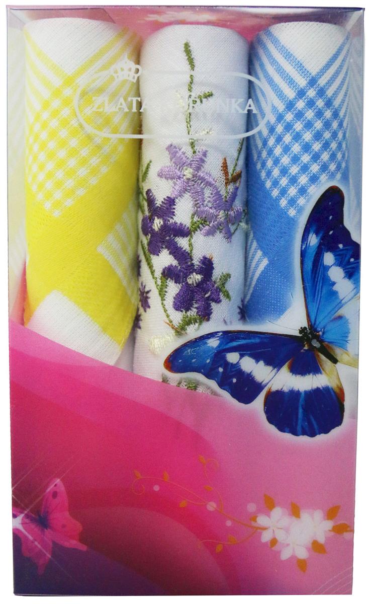 Платок носовой женский Zlata Korunka, цвет: мультиколор, 3 шт. 40423-62. Размер 28 х 28 см40423-62Платки носовые женские в упаковке по 3 шт. Носовые платки изготовлены из 100% хлопка, так как этот материал приятен в использовании, хорошо стирается, не садится, отлично впитывает влагу. Размер: 28 х 28..