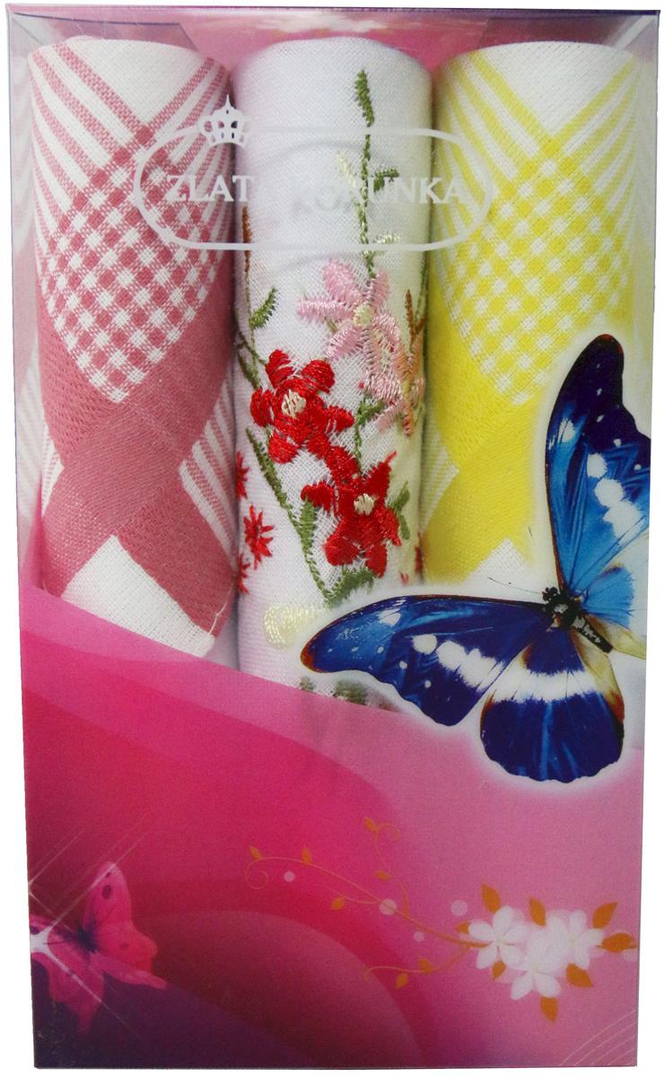 Платок носовой женский Zlata Korunka, цвет: мультиколор, 3 шт. 40423-63. Размер 28 х 28 см40423-63Платки носовые женские в упаковке по 3 шт. Носовые платки изготовлены из 100% хлопка, так как этот материал приятен в использовании, хорошо стирается, не садится, отлично впитывает влагу. Размер: 28 х 28..