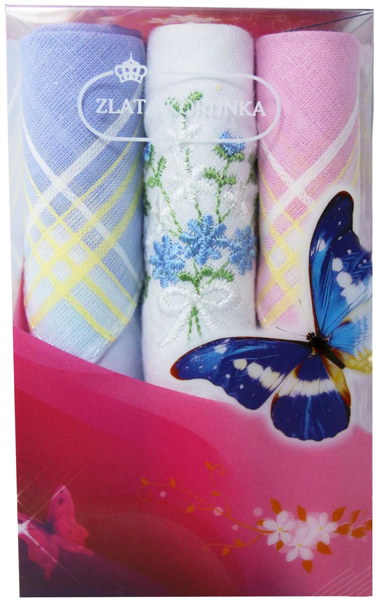 Платок носовой женский Zlata Korunka, цвет: мультиколор, 3 шт. 40423-64. Размер 28 х 28 см40423-64Платки носовые женские в упаковке по 3 шт. Носовые платки изготовлены из 100% хлопка, так как этот материал приятен в использовании, хорошо стирается, не садится, отлично впитывает влагу. Размер: 28 х 28..