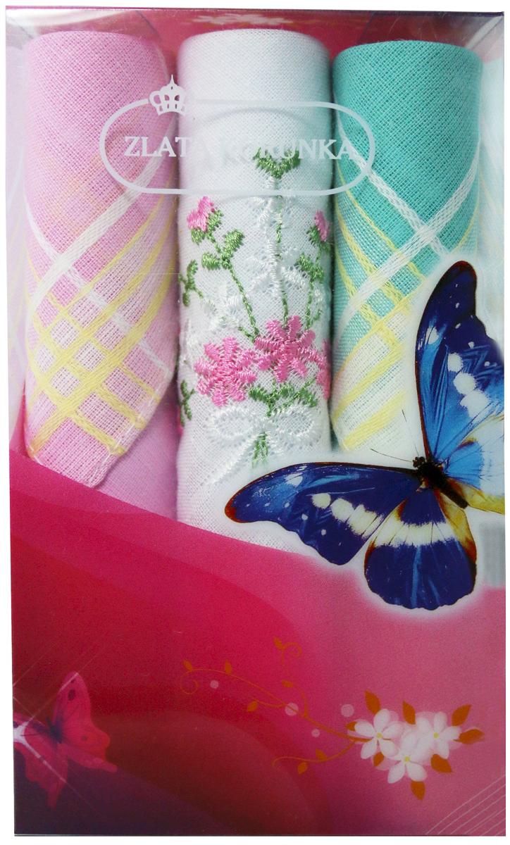 Платок носовой женский Zlata Korunka, цвет: мультиколор, 3 шт. 40423-65. Размер 28 х 28 см40423-65Платки носовые женские в упаковке по 3 шт. Носовые платки изготовлены из 100% хлопка, так как этот материал приятен в использовании, хорошо стирается, не садится, отлично впитывает влагу. Размер: 28 х 28..