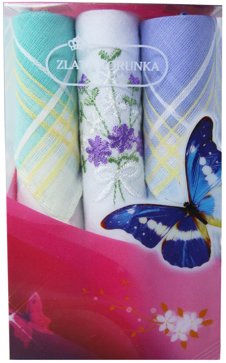 Платок носовой женский Zlata Korunka, цвет: мультиколор, 3 шт. 40423-66. Размер 28 х 28 см40423-66Платки носовые женские в упаковке по 3 шт. Носовые платки изготовлены из 100% хлопка, так как этот материал приятен в использовании, хорошо стирается, не садится, отлично впитывает влагу. Размер: 28 х 28..