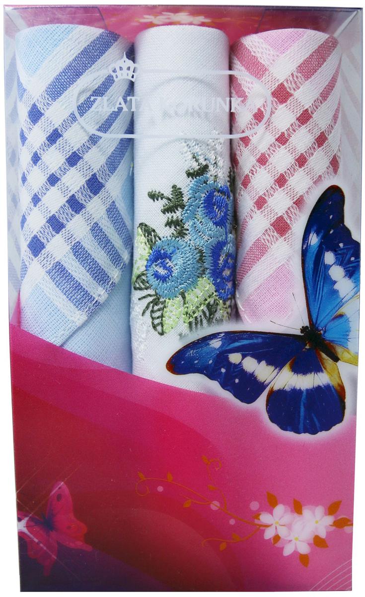 Платок носовой женский Zlata Korunka, цвет: мультиколор, 3 шт. 40423-7. Размер 28 х 28 см40423-7Платки носовые женские в упаковке по 3 шт. Носовые платки изготовлены из 100% хлопка, так как этот материал приятен в использовании, хорошо стирается, не садится, отлично впитывает влагу. Размер: 28 х 28..
