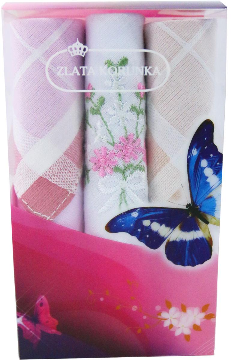 Платок носовой женский Zlata Korunka, цвет: мультиколор, 3 шт. 40423-73. Размер 28 х 28 см40423-73Платки носовые женские в упаковке по 3 шт. Носовые платки изготовлены из 100% хлопка, так как этот материал приятен в использовании, хорошо стирается, не садится, отлично впитывает влагу. Размер: 28 х 28..