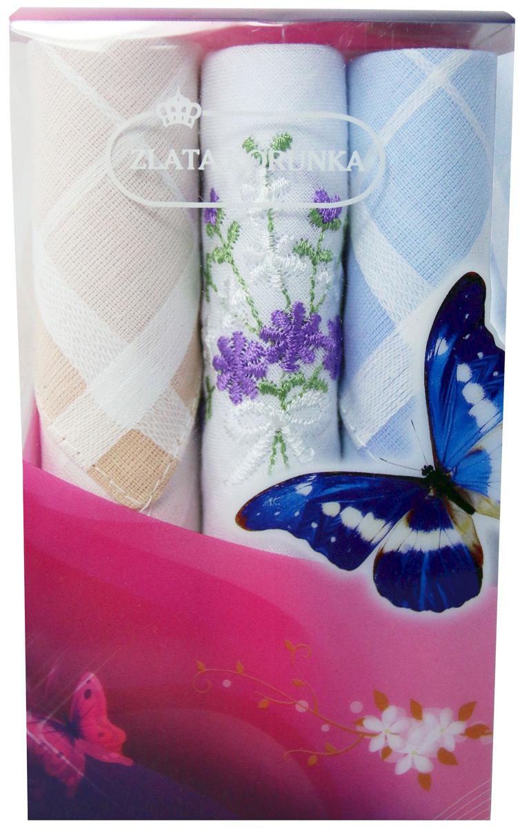 Платок носовой женский Zlata Korunka, цвет: мультиколор, 3 шт. 40423-75. Размер 28 х 28 см40423-75Платки носовые женские в упаковке по 3 шт. Носовые платки изготовлены из 100% хлопка, так как этот материал приятен в использовании, хорошо стирается, не садится, отлично впитывает влагу. Размер: 28 х 28..