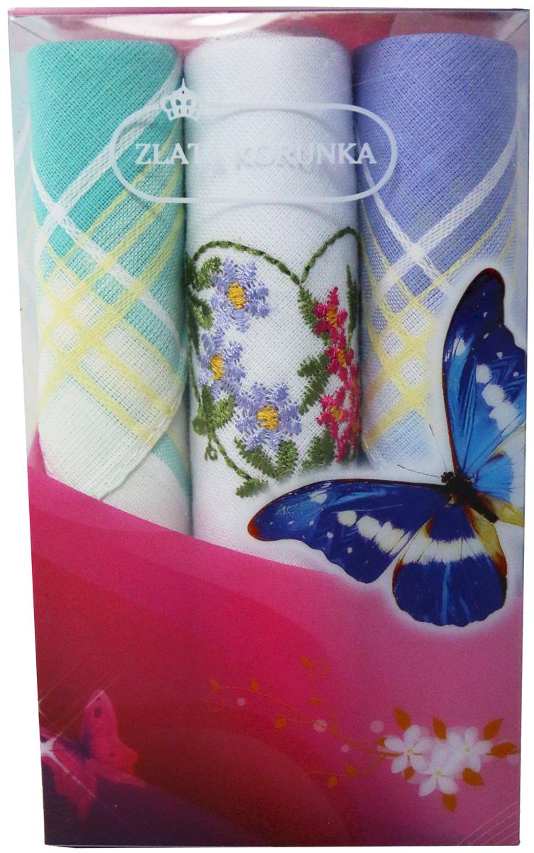 Платок носовой женский Zlata Korunka, цвет: мультиколор, 3 шт. 40423-76. Размер 28 х 28 см40423-76Платки носовые женские в упаковке по 3 шт. Носовые платки изготовлены из 100% хлопка, так как этот материал приятен в использовании, хорошо стирается, не садится, отлично впитывает влагу. Размер: 28 х 28..