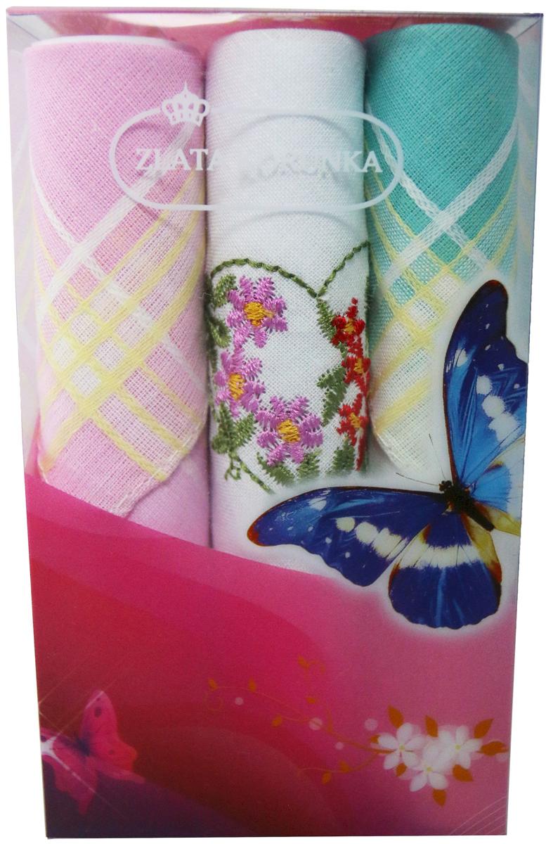Платок носовой женский Zlata Korunka, цвет: мультиколор, 3 шт. 40423-77. Размер 28 х 28 см40423-77Платки носовые женские в упаковке по 3 шт. Носовые платки изготовлены из 100% хлопка, так как этот материал приятен в использовании, хорошо стирается, не садится, отлично впитывает влагу. Размер: 28 х 28..