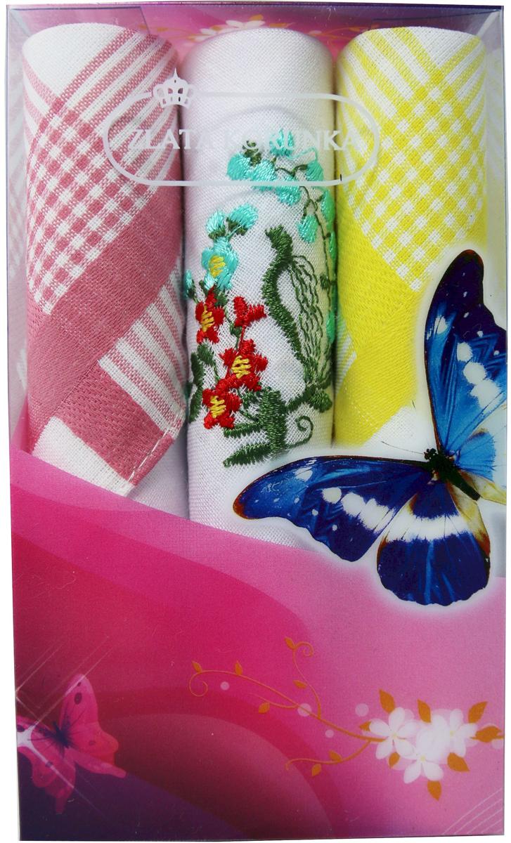 Платок носовой женский Zlata Korunka, цвет: мультиколор, 3 шт. 40423-79. Размер 28 х 28 см40423-79Платки носовые женские в упаковке по 3 шт. Носовые платки изготовлены из 100% хлопка, так как этот материал приятен в использовании, хорошо стирается, не садится, отлично впитывает влагу. Размер: 28 х 28..