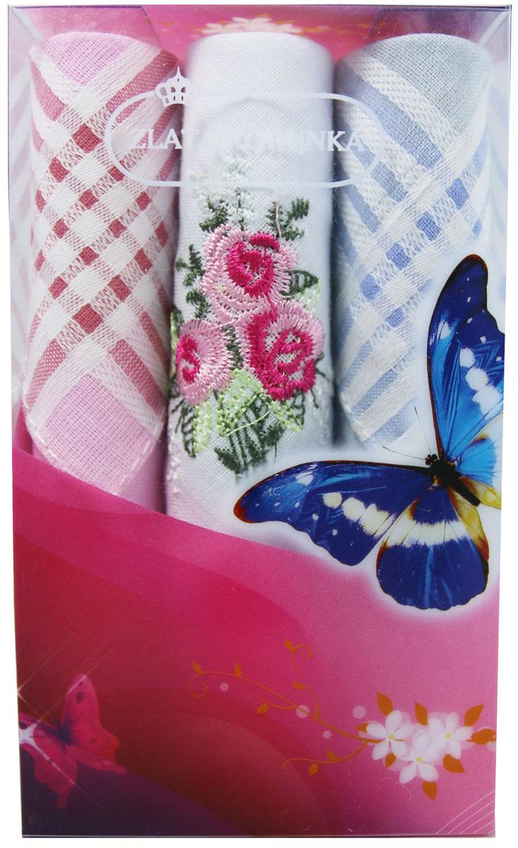 Платок носовой женский Zlata Korunka, цвет: мультиколор, 3 шт. 40423-8. Размер 28 х 28 см40423-8Платки носовые женские в упаковке по 3 шт. Носовые платки изготовлены из 100% хлопка, так как этот материал приятен в использовании, хорошо стирается, не садится, отлично впитывает влагу. Размер: 28 х 28..