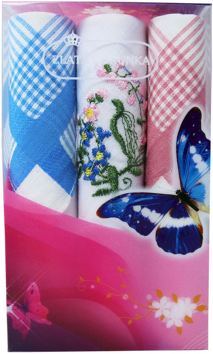 Платок носовой женский Zlata Korunka, цвет: мультиколор, 3 шт. 40423-80. Размер 28 х 28 см40423-80Платки носовые женские в упаковке по 3 шт. Носовые платки изготовлены из 100% хлопка, так как этот материал приятен в использовании, хорошо стирается, не садится, отлично впитывает влагу. Размер: 28 х 28..